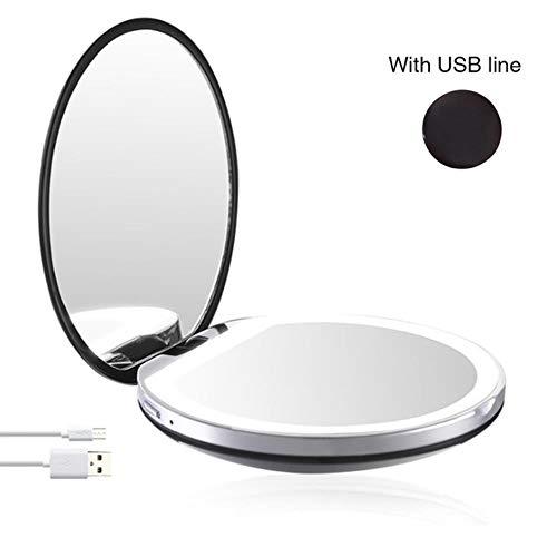 LASISZ Loupe Pliable LED Light Mini Miroir de Maquillage Compact Pocket Face Lip Cosmetic Mirror Travel Portable Light Make Up Mirror, Black