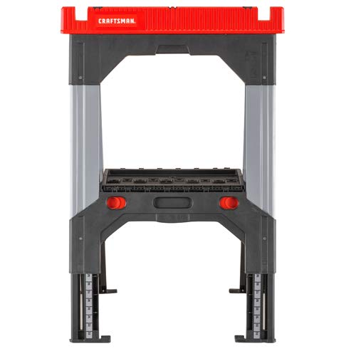 CRAFTSMAN 26.91-in W x 32.41-in H Adjustable Metal and Plastic Saw Horse (2,500-lb Capacity)