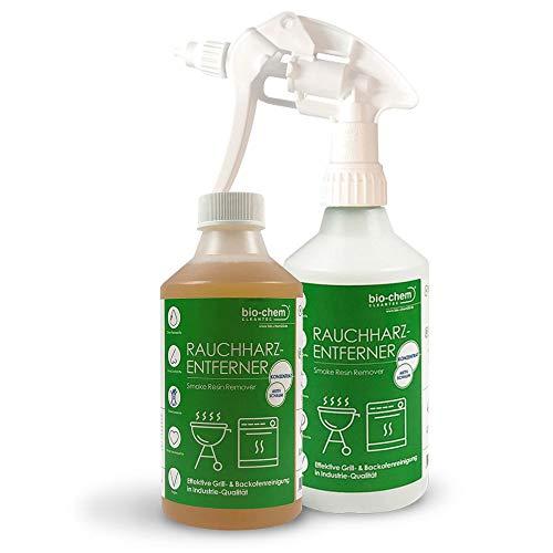 Bio-Chem Rauchharz-Entferner Grill & Backofenreiniger 500ml Konzentrat bis zu 20 l Reinigungslösung inklusive Mischflasche
