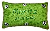 Grünes Schmusekissen * Kuschelkissen * Fußball * mit Namen bestickt * in zwei Größen