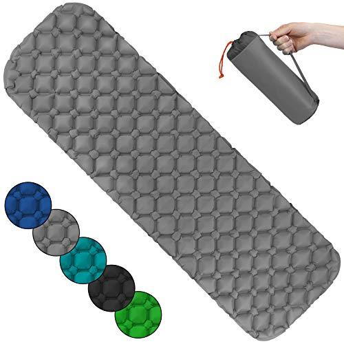 ALPIDEX Isomatte Camping Aufblasbar Ultraleichte rutschfeste Schlafmatte Luftmatratze, Farbe:Grey