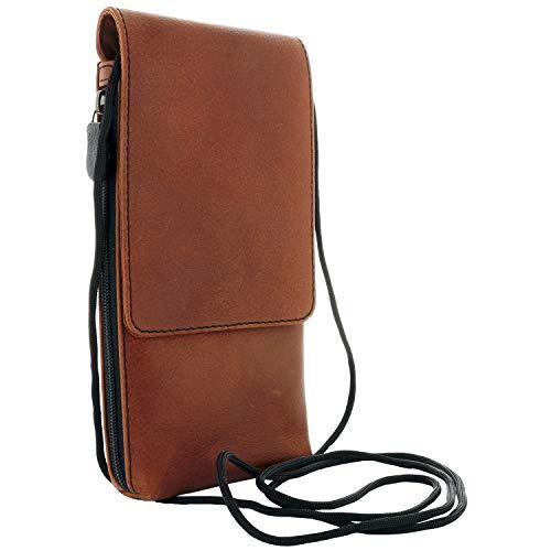 XiRRiX Herren Leder Umhängetasche/Handy Smartphone Brustbeutel zum Umhängen kompatibel mit Motorola Moto G8 / G9 Play - Samsung Galaxy A21s A32 A51 A52 A71 M11 M21 M51 / S20 FE - Tasche braun