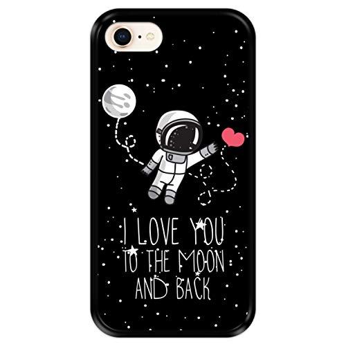 Hapdey Custodia per [ Apple iPhone 7-8 - SE 2020 ] Disegni [ Astronauta, Love You to The Moon And Back ] Cover Guscio in Silicone Flessibile Nero TPU
