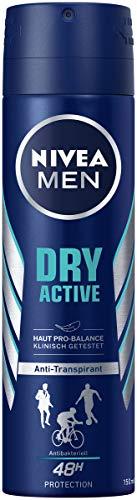 NIVEA MEN Dry Active Deo Spray (150 ml), Antitranspirant mit starkem und zuverlässigem Deo-Schutz, Deodorant mit 48h Schutz