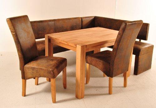 SAM® Kernbuche Tischgruppe Horst, 4 TLG. Eckbank in Wildleder-Optik und Tisch in Buche, bestehend aus 1 x Holz-Tisch, 2 x Stuhl Sergio, 1 x Eckbank Scarlett