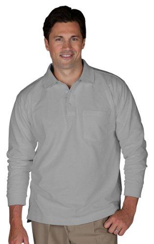 Edwards Unisex Long Sleeve Pique Polo/Pocket Shirt - 4XL T - Heather Grey