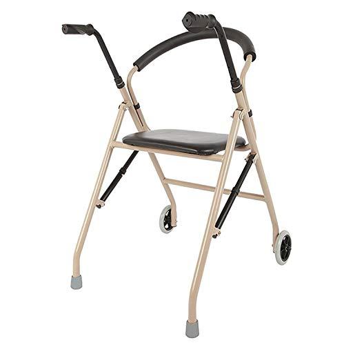 Rollator Gehhilfen Erwachsener Älterer Rollator Walker, mit 2 Rädern und Sitz, Leichter Faltbarer Aufrecht Stehender Walker, Außenassistent für Senioren, Step Assist, Einstellbare Höhe