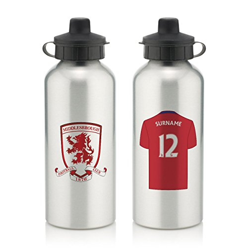Official PERSONALISED Middlesbrough FC Aluminium Silver Water Bottle with Spring Hook (600ml)