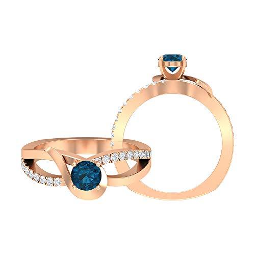 Rosec Jewels - 14 Kt Rotgold Runder Brilliantschliff Rund Leicht Getöntes Weiß/Top Crystal (I) Blue Diamant Blautopas – London.