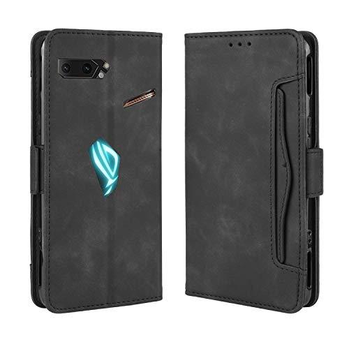 SPAK Asus ROG Phone II Hülle,Premium Leder Geldbörse Flip Schutzhülle Cover für Asus ROG Phone II (Schwarz)