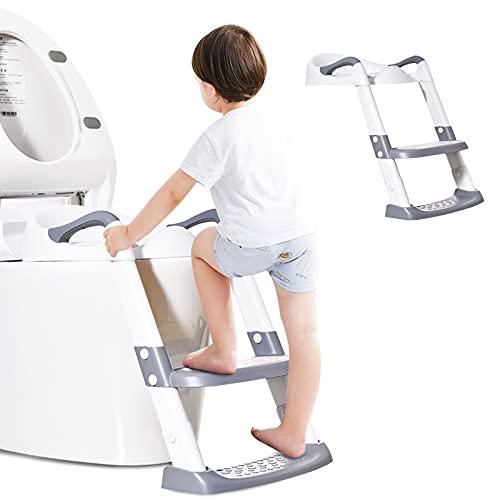 Barakara Riduttore WC per Bambini con Scaletta Pieghevole Regolabile in Altezza Antiscivolo con Cuscino Scala Paraspruzzi Sedile da Allenamento con Sgabello Toilette Trainer per Bambini