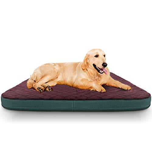 JoicyCo Dog Bed Jumbo Crate Pad Mat Orthopedic Pet Sleeping Beds 39/47 Inch Washable Non Slip Cushion Mattress Red L