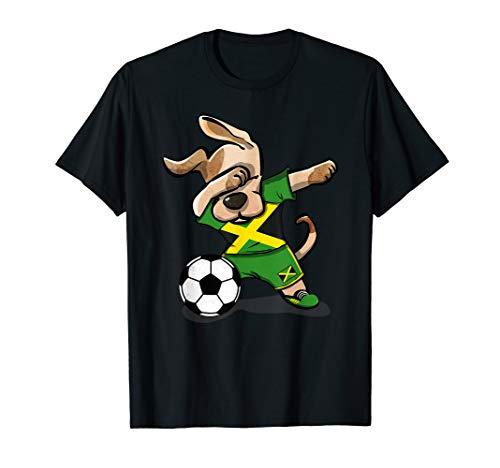Dog Dabbing Jamaica Soccer Jersey Jamaican Football Lover T-Shirt