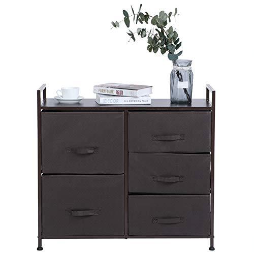 Mueble cajonera de tela con 5 cajones, cómoda organizadora, estantería portaobjetos, cajonera unidad de torre para uso doméstico, 83 x 76,9 x 28,5 cm