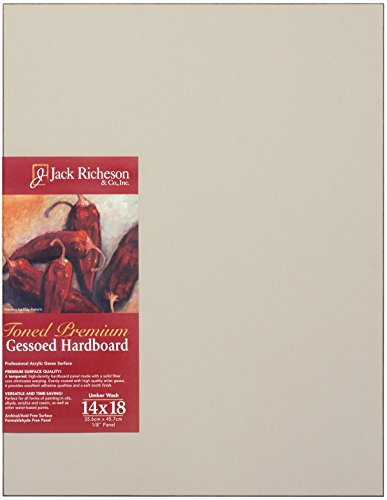 "Jack Richeson Richeson Umber Wash Toned Gessoed 1/8"" Hardboard 14""x18"""