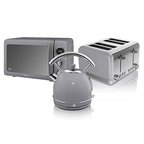 Swan, Retro Kitchen Kettle and Toaster Set, 1.8L Dome Kettle, 4 Slice Toaster, (Grey)