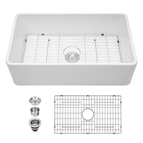 33 White Farmhouse Sink - Sarlai 33 Inch Kitchen Sink Apron Front Ceramic Porcelain Vitreous Fireclay Single Bowl Farmer Sink Basin