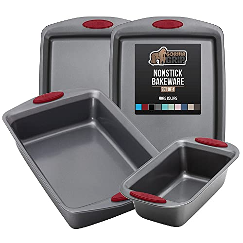 Gorilla Grip Bakeware Sets, Nonstick, Heavy Duty Carbon Steel, 4 Piece Kitchen Baking Set with Silicone Handles, 2 Large Size Cookie Sheets, 1 Medium Sized Oven Roaster Pan and 1 Loaf Pan, Red