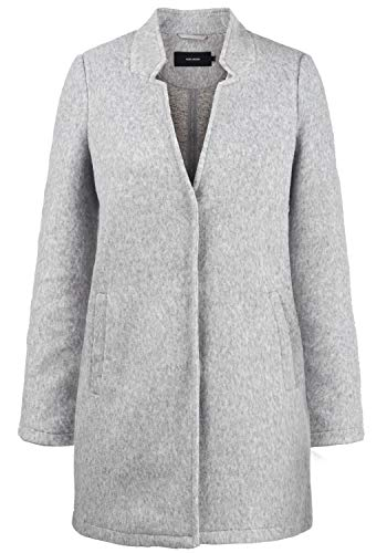 VERO MODA Mania Damen Winter Jacke Wollmantel Winterjacke Mantel Mit Reverskragen, Größe:L, Farbe:Light Grey Melange