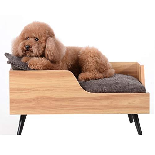 LTLJX Cama para Perros Elevada, Grande Cama Mascotas para Dormir Relajar Madera Ortopédico Sofá Interiores Cama Hamaca con Cojín,Marrón,M78x52×30cm