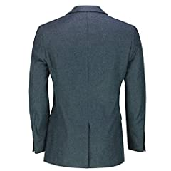 Xposed Mens Double Single Breasted Blazer Smart Retro Tailored Fit Coat Classic Suit Jacket[BLZ-SIN-Marco,Tweed Blue,50] #3