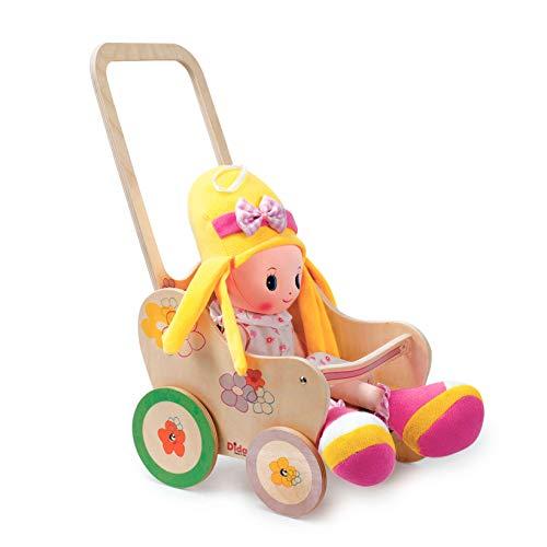 Dida - Der Puppenbuggy Aus Holz Dekoration Blume Ist EIN Holzpuppenwagen Für Kleinkinder Nützlich Auch Als Lauflern Wagen