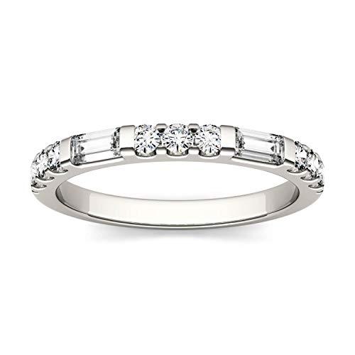 Charles & Colvard Moissanite By Charles & Colvard anillo grande - Oro blanco 14K - Moissanita de 4.0 mm de talla baguette, 0.502 ct. DEW, talla 19,5