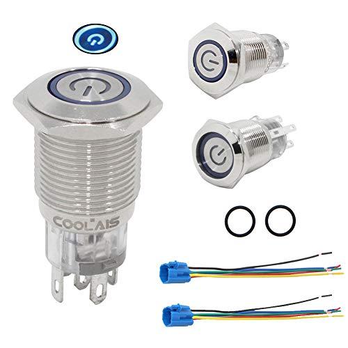 Coolais 12v druckschalter rastend druckknopf schalter wasserdicht drücken schalter 16mm blaues LED rastender taster einbauschalter elektronik-schalter mit Stecker 5A 2 Sätze PBSLL-02