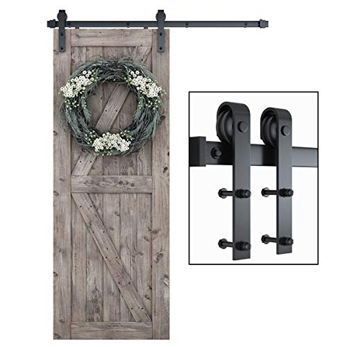 """SMARTSTANDARD 5ft Heavy Duty Sturdy Sliding Barn Door Hardware Kit -Smoothly and Quietly -Easy to Install -Includes Step-by-Step Installation Instruction Fit 30"""" Wide Door Panel ( J Shape Hanger)"""