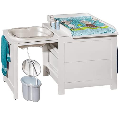 Wickeltisch mit Baby - Badewanne | Wickelkommode mit Badwechselkombination | Faltbare Babywanne mit Wickeltisch | Praktische Kommode mit Schubladen für Kinder, Neugeborene | Hohe Qualität von ATB