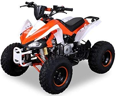 Kinder Quad S-14 125 cc Motor Miniquad 125 ccm Speedy Kinderfahrzeug Midiquad (Orange/Weiß)