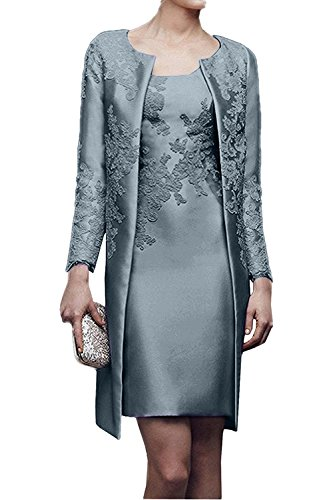 Charmant Damen 2019 Neu Dunkel Silber Satin Abendkleider Partykleider Ballkleider mit lang Bolero Knie-lang -32 Dunkel Silber