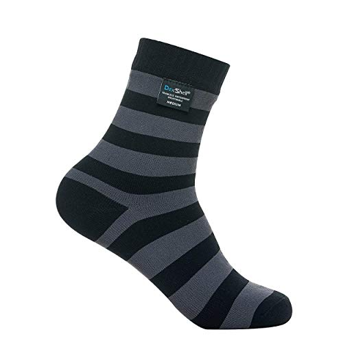 DexShell Ultralite Bamboo Waterproof Socks, Black/Grey Stripe, Medium
