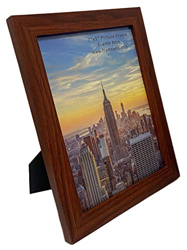 Frame Amo Walnut Brown 7x9 Picture Frame, 1 inch Wide Border, Smooth Finish, Glass Front, for Wall or Table
