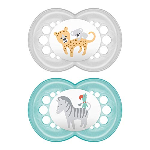MAM Animal Pacifier (2 pack, 1 Sterilizing Pacifier Case), Pacifiers 6 Plus Months, Unisex Baby Pacifiers, Best Pacifiers for Breastfed Babies, Sterilizing Storage Case