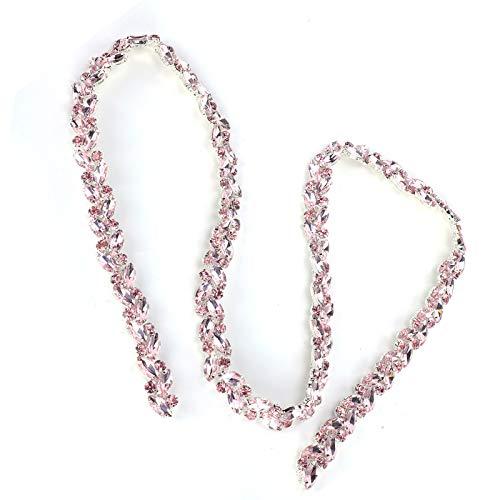 Diamantkette Umweltschutz und keine Rostkleidung Dekoration Zubehör Hochauflösendes durchscheinendes 0,6 x 37,4 x 0,2 Zoll für die Dekoration(Pink)