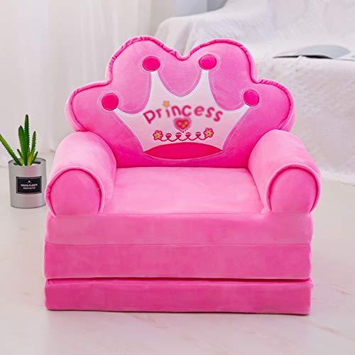 NNYCC Sofa für Kinder Schlafzimmer, Prinzessin Krone Cartoon Mini Sofa Sessel Sitz für Kinder Tatami Stühle Baby Sofa Cover Neuheit Geschenk perfekt für Mädchen,Rosa,2 Floors