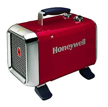 Honeywell HZ-510 - Calefactor Cerámico Termoventilador de Diseño Exclusivo, Potencia 1000 - 1800 W, Patas Ajustables y 2 Posiciones de Calor, Color Rojo