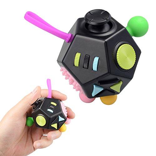 JIM'S STORE Stress Relief Toys 12 Côtés Fidget Anxiété Stress Reliever Cube Décompression Jouet Attention Dinquiétude Jouet à Doigt Sensoriel pour ADHD / ADD Adultes Enfants Noir