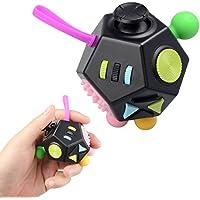 JIM'S STORE Juguete Antiestrés Stress Cube, 12 Lados Cubo de Descompresión Juguete de Atención a la Ansiedad Juguete de Dedo Sensorial para ADHD, Add Adultos y Niños (Negro)