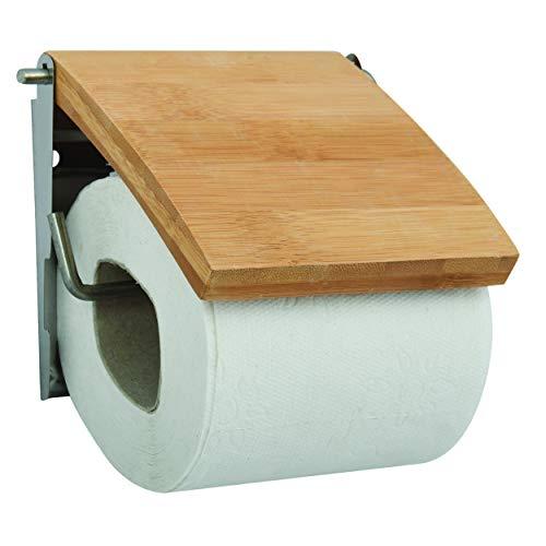 MSV 140396 - Portarrollos para Papel higiénico (Madera de bambú y Acero Inoxidable, 13 x 15 x 1,5 cm)