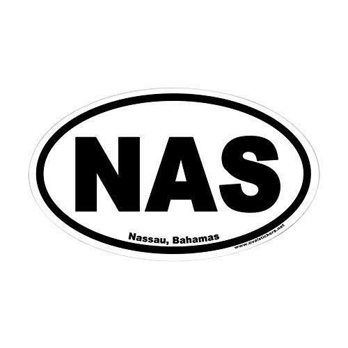 Nassau Bahamas NAS Euro ovaler Aufkleber, Vinyl, Autoaufkleber, Stoßstangenaufkleber, lustiger Aufkleber für Laptop, für Kinder, Weihnachtsgeschenke
