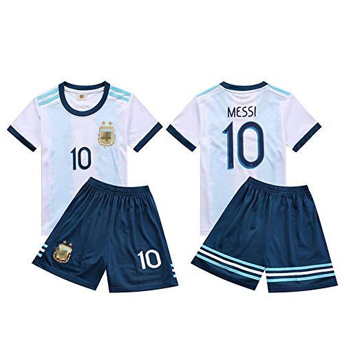 WQJIE Camiseta de fútbol para niños, Ropa Deportiva de Manga Corta # 10 Messi, Top + shorts-18