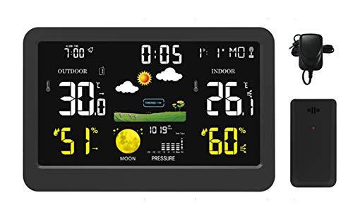 YYZLG Farb-Wetterstation, multifunktional, kabelloser Farbbildschirm, Wetteruhr, Innen- und Außenbereich, Temperatur- und Luftfeuchtigkeitsmesser, Wettervorhersage Uhr