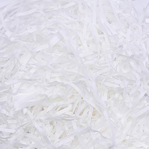 MZMing 200 Gramm Geschreddertes Papier Shredded Crinkle Paper Füllmaterial für Präsentkörbe Papierschnitzel Verpackung Seidenpapier Geschreddert Korbfüllung Papier für Geschenkverpackungen (Weiß)