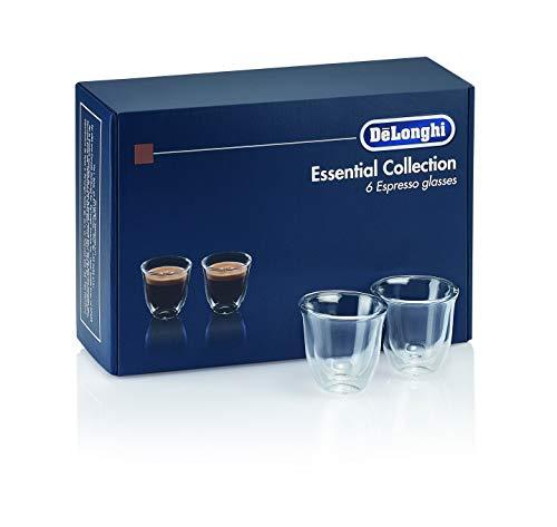 De'Longhi DLSC300 6 bicchieri in vetro da caffè espresso 60ml, Trasparente