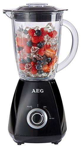 AEG PerfectMix SB185 Standmixer (450 Watt, bis zu 20.500 U/min, stufenlose Geschwindigkeitsregulierung + Ice Crush, 1,5 l spezial gehärteter Glaskrug für Links- und Rechtshänder, 4 Edelstahlmesser, BPA frei) Schwarz