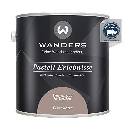 Wanders24® Pastell Erlebnisse (2,5 Liter, Terrakotta) edelmatte Wandfarbe - Feine Farben - in 40 Farbtönen - Wandfarbe Grau - Made in Germany