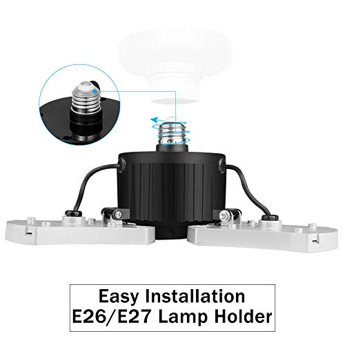 LED E26 Garage Bulb Lights with 3 Adustbale Panels 60w(60w Eqv 200w) 5000K 6000LM for Garage Basement and Barn (2 Pack) 4