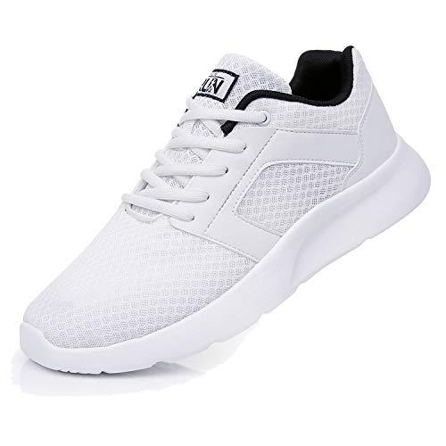 Fexkean Scarpe da Ginnastica Sportive Uomo Donna Running Sneaker Casual Leggero Basse Corsa Calzature Outdoor Fitness Traspirante Mesh (8996 White 40)